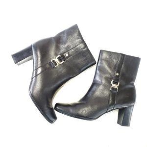 8.5 Leather Heeled Zipper Apt 9 Black Boots